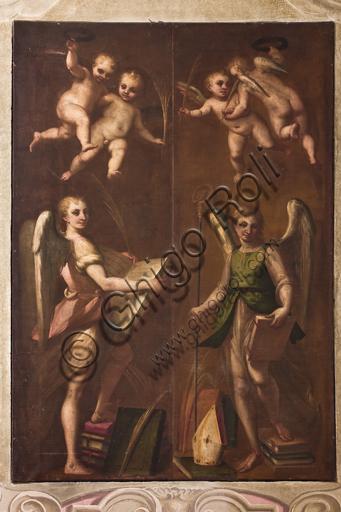 """Genova, Duomo (Cattedrale di S. Lorenzo), sacrestia, cappella: """"Angeli con insegne vescovili, libri e rami di palma"""", di Luca Cambiaso (1580 circa)."""