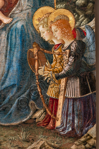 Perugia, National Gallery of Umbria: Madonna of St. Dominic, by Benedetto Bonfigli,1448-9, tempera and oil (?) on panel. Detail with angels playing musical instruments.