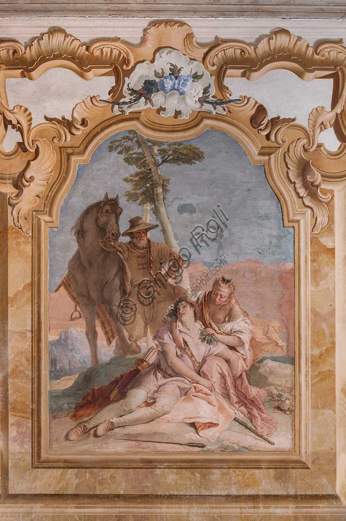 "Vicenza, Villa Valmarana ai Nani, Palazzina (Small Building): second room or room of Ariosto with frescoes representing episodes from ""Orlando Furioso"": ""Angelica takes care of Medoro's wounds"".  Frescoes by Giambattista Tiepolo, 1756 - 1757."