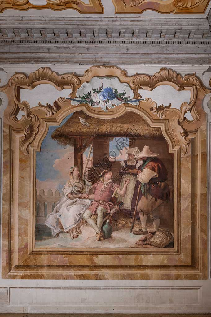 "Vicenza, Villa Valmarana ai Nani, Palazzina (Small Building): second room or room of Ariosto with frescoes representing episodes from ""Orlando Furioso"": ""Angelica and Medoro in the shepherds' house"".  Frescoes by Giambattista Tiepolo, 1756 - 1757."