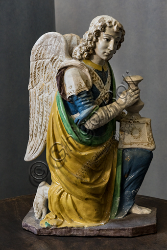 """""""Angel candle holder"""", by Benedetto Buglioni, 1480 - 90, polychrome glazed terracotta."""
