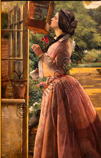 """""""A pet"""" (1853)  by Walter Howell Deverell (1827 - 1854), oil painting on canvas."""