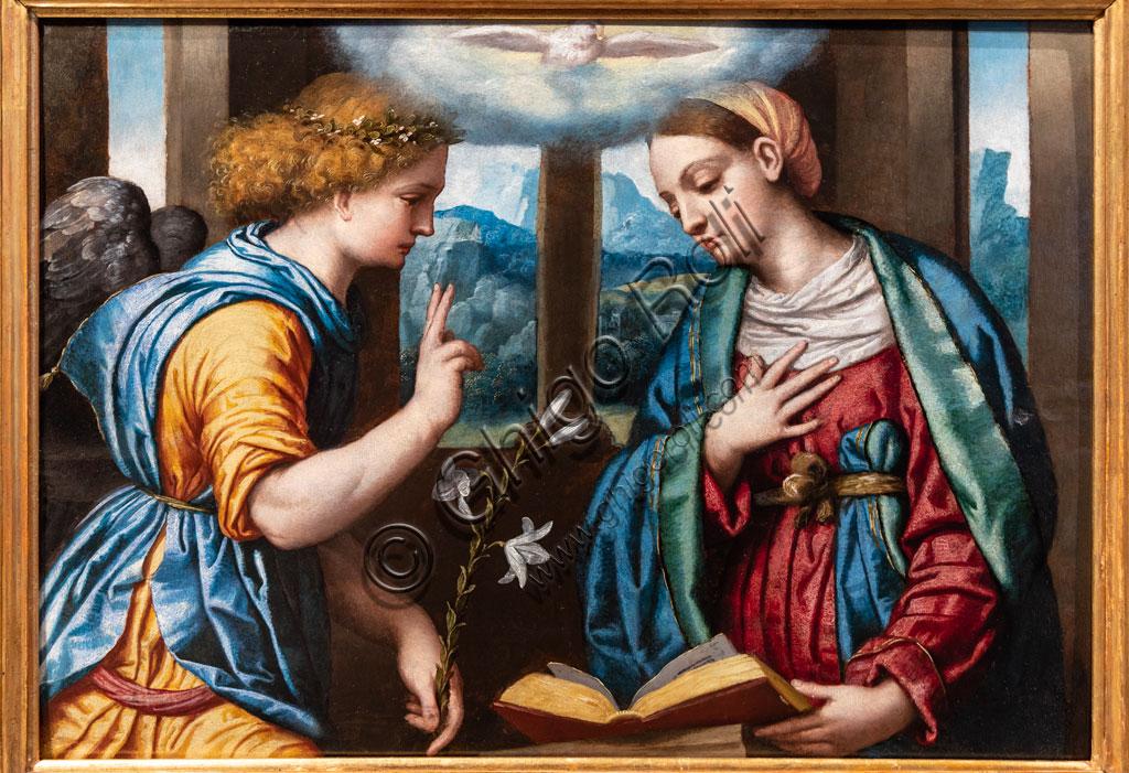 "Brescia, Pinacoteca Tosio Martinengo: ""Annunciation"", by Alessandro Bonvicino known as il Moretto, about 1535-40. Oil painting on panel."