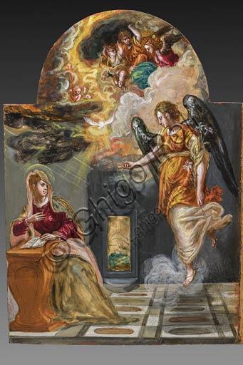"""Modena, Galleria Estense: altarolo portatile di Domenico Theotokòpoulòs detto El Greco (1541-1614). Tempera grassa su tavola, cm 37 x 23,8. Anta sinistra del retro Parte  con """"Annunciazione""""."""