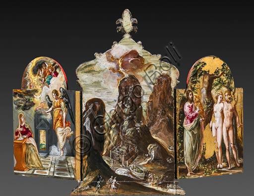 """Modena, Galleria Estense: altarolo portatile di Domenico Theotokòpoulòs detto El Greco (1541-1614). Tempera grassa su tavola, cm 37 x 23,8. Veduta del retro con """"Annunciazione"""" a sinistra, """"Consegna delle Tavole della Legge sul monte Sinai"""" al centro e """"Adamo ed Eva al cospetto del Padre Eterno"""" a destra."""
