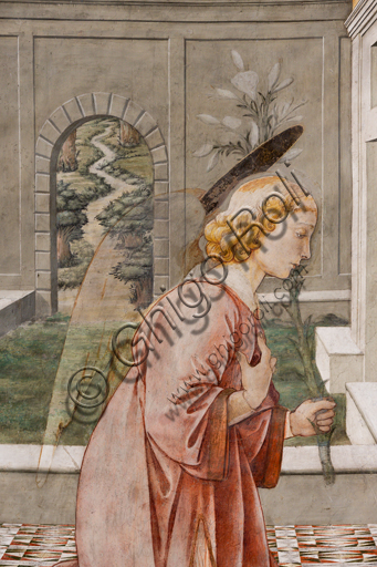 """Spoleto, the Duomo (Cathedral of S. Maria Assunta), presbytery, tholobate: """"Annunciation"""", fresco by Filippo Lippi, helped by Fra' Diamante and Pier Matteo d'Amelia, 1468-9.  Detail of the Archangel Gabriele holding the lily, symbol of purity."""