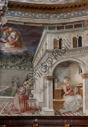 """Spoleto, the Duomo (Cathedral of S. Maria Assunta), presbytery, tholobate: """"Annunciation"""", fresco by Filippo Lippi, helped by Fra' Diamante and Pier Matteo d'Amelia, 1468-9."""