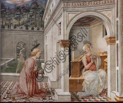 """Spoleto, the Duomo (Cathedral of S. Maria Assunta), presbytery, tholobate: """"Annunciation"""", fresco by Filippo Lippi, helped by Fra' Diamante and Pier Matteo d'Amelia, 1468-9.  Detail"""