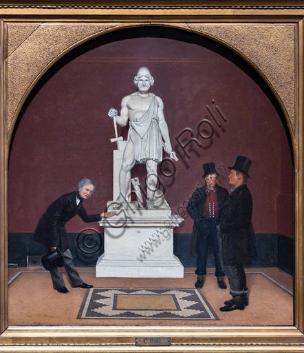 """Anton Frederik Tscherning showing the statue of Vulcano to two pesants in the Thorvaldsen Museum"", about 1860-5, by Carl Michael Dahl  (1812 - 1865), oil on canvas."