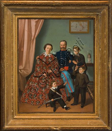 """Antonio Boldini: """"Famiglia""""; olio su tela, cm  79 X 62,5."""