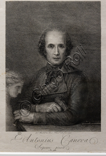 """Antonio Canova"", (after the painting kept at the Rome Museum), 1806, by Giovanni Martino De Boni (1753 - 1831), etching and engraving."