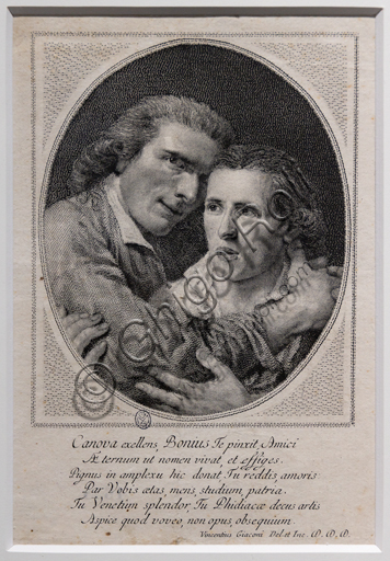 """Antonio Canova and Giovanni Martino De Boni"", (after the painting by De Boni), 1796, by Vincenzo Giaconi (1760 - 1829), etching and engraving."