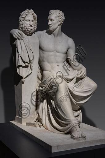 """""""Antonio Canova sedente in atto di abbracciare l'erma fidiaca di Giove"""", 1817-20, di Giovanni Ceccarini (1790 - 1861), marmo."""