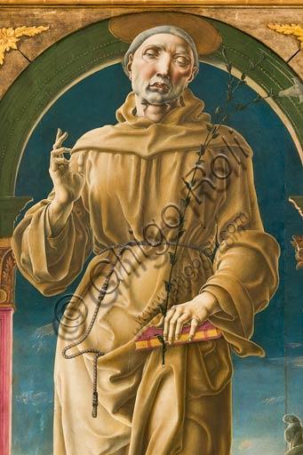 """Modena, Galleria Estense: """"S. Antonio da Padova"""", di Cosmè Tura (1430-1490). Olio e tempera su tavola , cm 178 x 80. Particolare."""