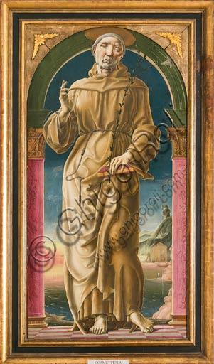 """Modena, Galleria Estense: """"S. Antonio da Padova"""", di Cosmè Tura (1430-1490). Olio e tempera su tavola , cm 178 x 80."""