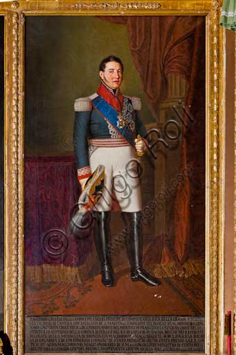 "Palermo, The Royal Palace or Palazzo dei Normanni (Palace of the Normans), The Royal Apartment, The Viceroy Room: ""Antonio Lucchesi Palli, Lieutenant General of the Kingdom"" (1822-1824, about 1830); oil painting by Giuseppe Patania (1780-1852)."