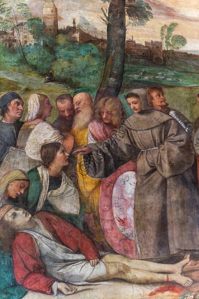 """Padova, Basilica di Sant'Antonio o del Santo, Scuola del Santo, Salone:  particolare di """"S. Antonio riattacca il piede al giovane"""", affresco di Tiziano Vecellio."""