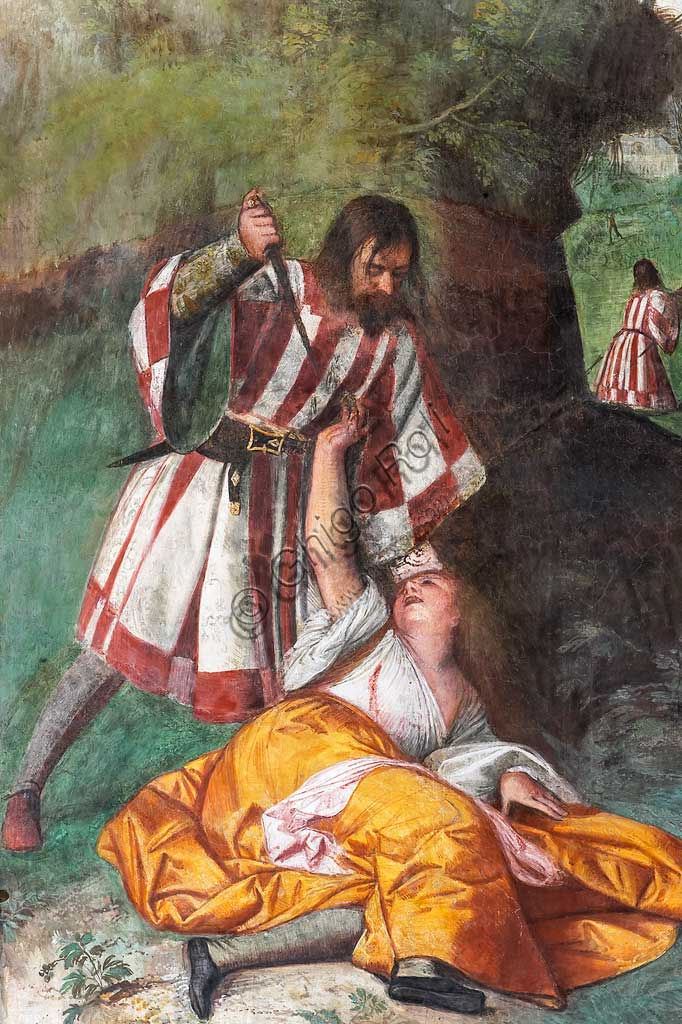 """Padova, Basilica di Sant'Antonio o del Santo, Scuola del Santo, Salone:  """"S. Antonio risana la donna pugnalata dal marito"""", affresco di Tiziano Vecellio."""