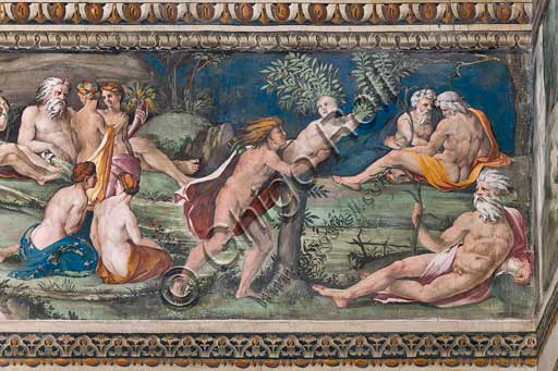 Rome, Villa Farnesina, The Hall of Perspectives: the ample frieze with mythological scenes inspired by the Ovid  Metamorphoses. Detail of Apollo and Daphne.Frescoes by Baldassarre Peruzzi and workshop (Giulio Romano?) 1517-18.