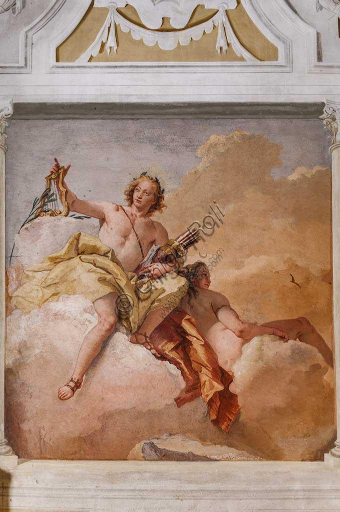 "Vicenza, Villa Valmarana ai Nani, Guest Lodgings, the Room  of the Olympus: ""Apollo and Diana"", fresco by Giambattista Tiepolo, 1757."