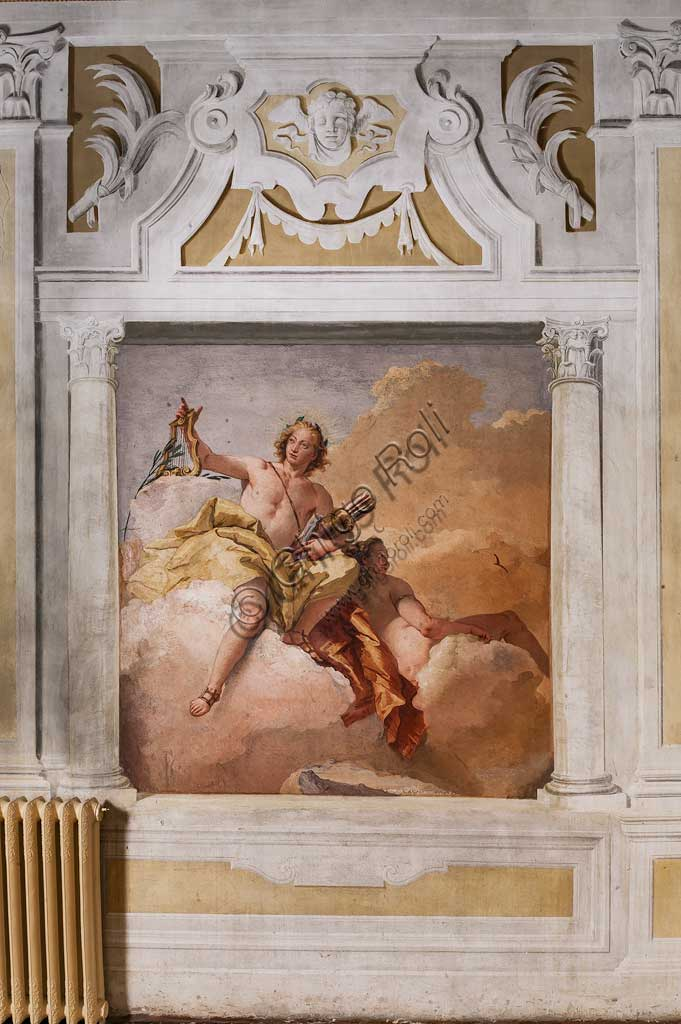"""Vicenza, Villa Valmarana ai Nani, Foresteria, Stanza dell'Olimpo:  """"Apollo e Diana"""". Affresco di Giambattista Tiepolo, 1757."""