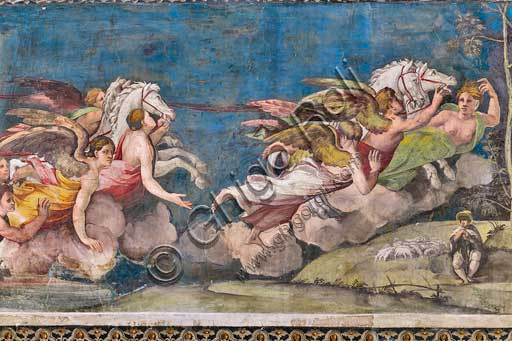 Rome, Villa Farnesina, The Hall of Perspectives: the ample frieze with mythological scenes inspired by the Ovid  Metamorphoses.  Detail with Apollo - Helios driving the chariot of the Sun. Frescoes by Baldassarre Peruzzi (1517-8).