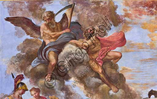 "Palermo, The Royal Palace or Palazzo dei Normanni (Palace of the Normans), the Royal Apartment, The Hercules Hall (Parliament of the Sicily Regional Assembly), the vault: ""Apotheosis of Hercules"", wall painting by Giuseppe Velasco, 1812. Detail."