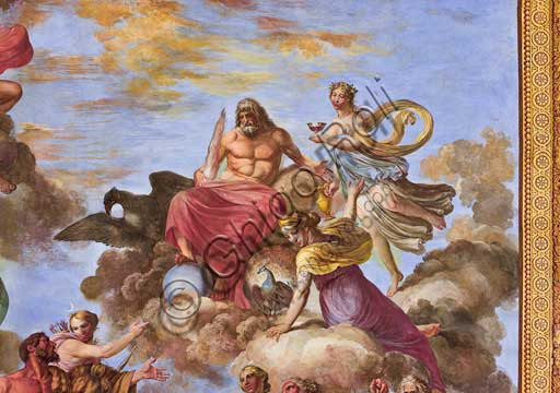 "Palermo, The Royal Palace or Palazzo dei Normanni (Palace of the Normans), the Royal Apartment, The Hercules Hall (Parliament of the Sicily Regional Assembly), the vault: ""Apotheosis of Hercules"", wall painting by Giuseppe Velasco, 1812. Detail representing Artemis and Jupiter with the eagle."