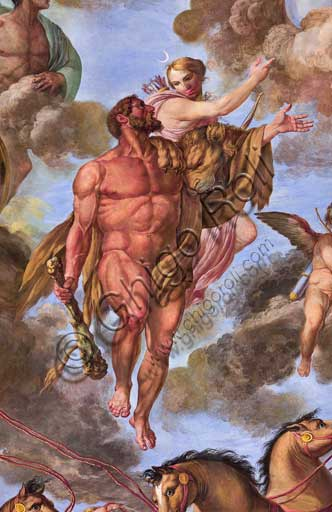 "Palermo, The Royal Palace or Palazzo dei Normanni (Palace of the Normans), the Royal Apartment, The Hercules Hall (Parliament of the Sicily Regional Assembly), the vault: ""Apotheosis of Hercules"", wall painting by Giuseppe Velasco, 1812. Detail representing Artemis."