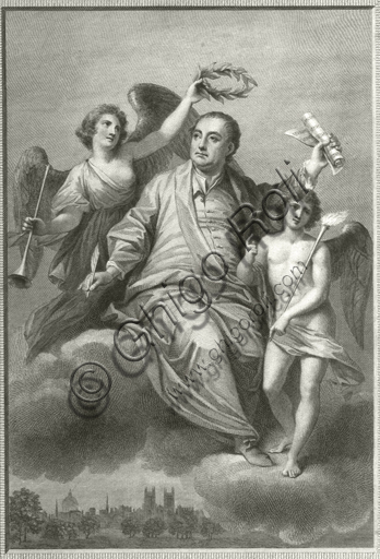 """""""Apotheosis of Georg Friedrich Händel"""". Engraving from a painting by Thomas Hudson."""