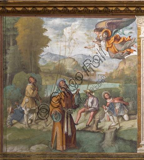 """Cremona, Duomo (Cattedrale di S. Maria Assunta), interno, navata mediana, primo arcone: """"Apparizione dell'Angelo a S. Gioacchino"""", affresco di Boccaccio Boccaccino, 1515."""