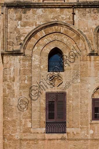 Palermo, The Royal Palace or Palazzo dei Normanni (Palace of the Normans): view of the North-East façade of the Pisan Tower. Architectural detail.