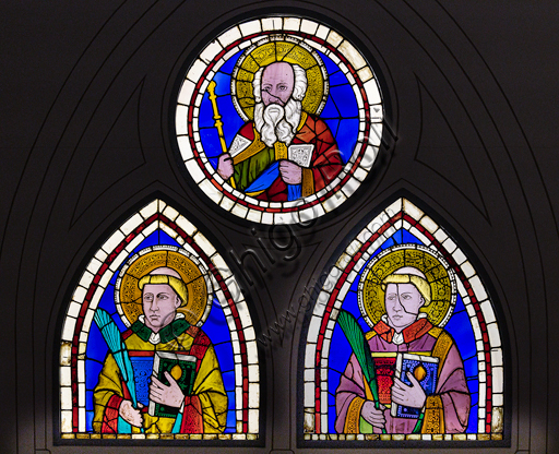"Basilica of the Holy Cross: ""Aaron and two Saints Deacon Martyrs"",  early XIV century, by Giotto, stained glass window panels."
