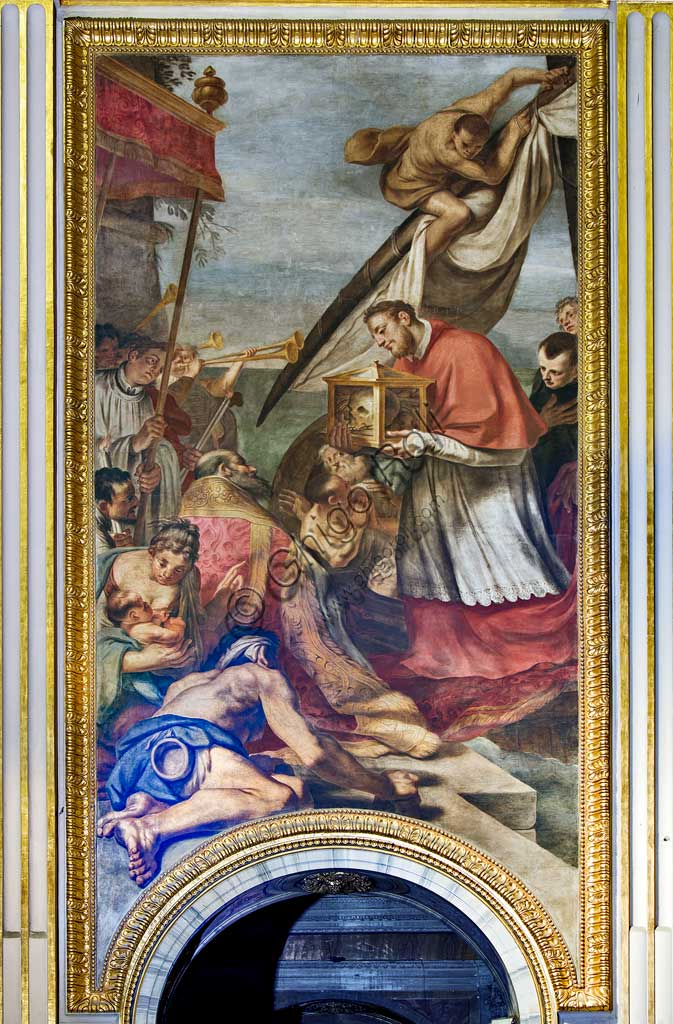 """Basilica of St Andrew della Valle, paintings above the passages of the antechoir, frescoes representing episodes from the life of S. Andrew: """"Arrival of the relic of St. Andrew in Ancona"""". Fresco by Carlo Cignani and Emilio Taruffi, realised after 1662."""