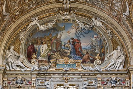 """Genova, Duomo (Cattedrale di S. Lorenzo),  interno, cappella Cybo (braccio settentrionale del transetto): lunetta: """"Arrivo delle ceneri di San Giovanni Battista"""", di L. Pogliaghi (1910)."""