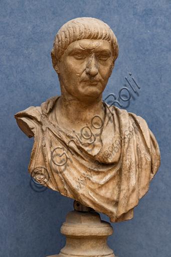 "Roman art: ""Portrait of Trajan"", I century a.D., marble."