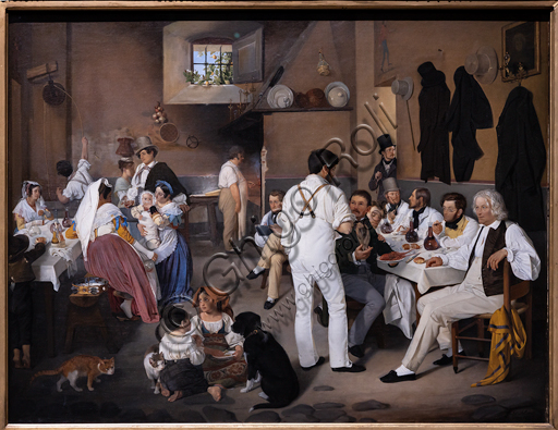 """Danish artists at the Osteria La Gensola in Trastevere"", 1837, di Ditlev Conrad Blunck (1798 - 1854), oil on canvas."
