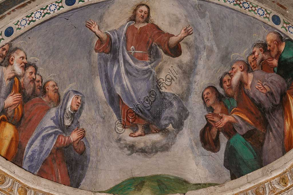 "Cortemaggiore, Church of SS. Annunziata (part of the Franciscan Convent), Pallavicino Chapel: ""The Ascension  of Christ"", fresco by Giovanni Antonio de Sacchis, known as il Pordenone, about 1529."