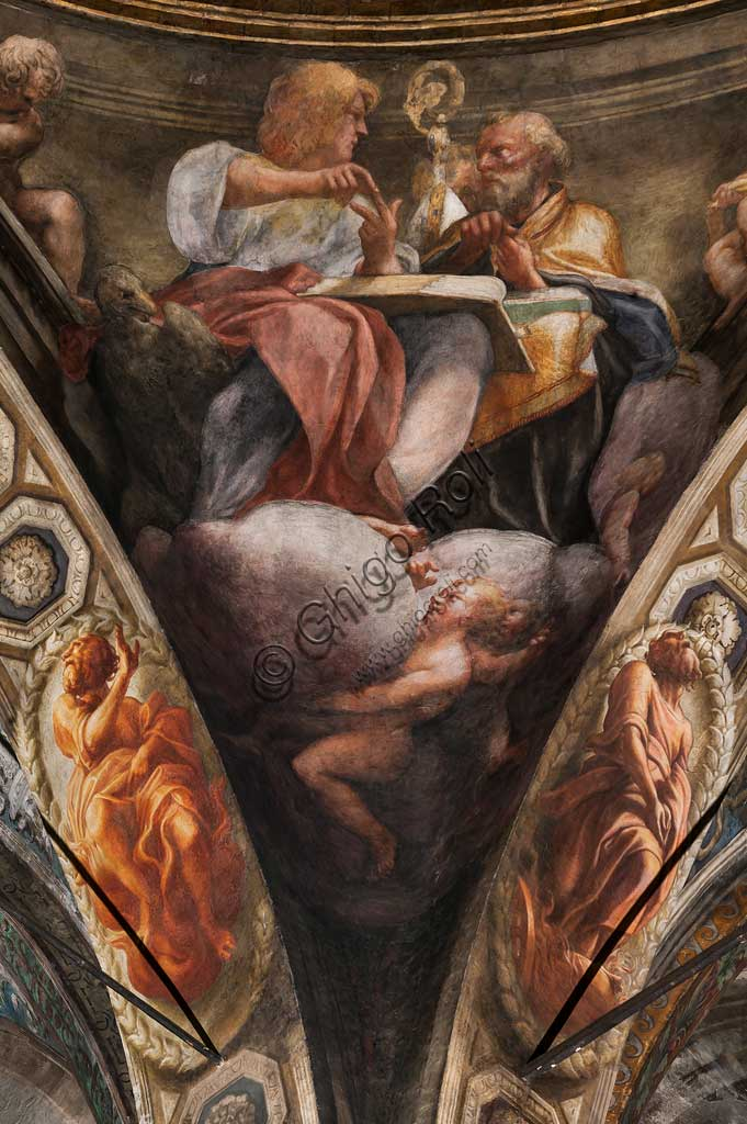 "Parma, Church of San Giovanni Evangelista, the dome: ""Ascension of Christ"", by Giovanni Allegri, known as Correggio (1520-22). Detail with St. John and St. Gregory the Great."