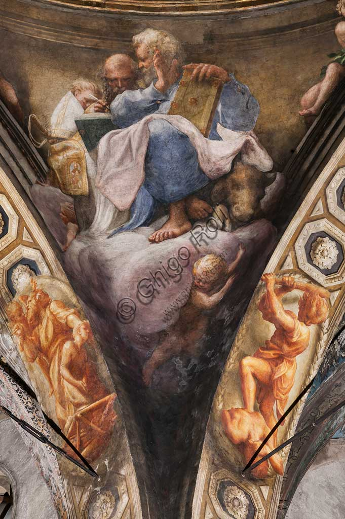 "Parma, Church of San Giovanni Evangelista, the dome: ""Ascension of Christ"", by Giovanni Allegri, known as Correggio (1520-22). Detail with St. Matthew and St. Jerome."
