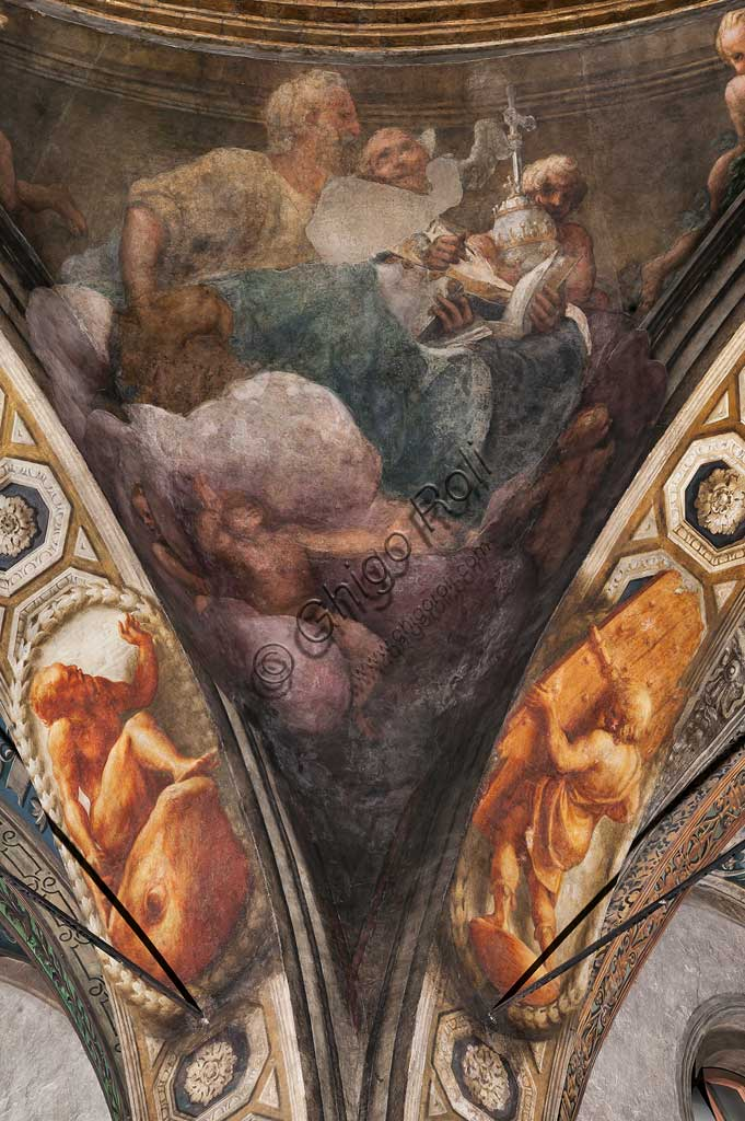 "Parma, Church of San Giovanni Evangelista, the dome: ""Ascension of Christ"", by Giovanni Allegri, known as Correggio (1520-22). Detail with St. John and St. Augustine."
