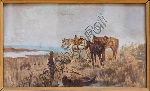 """Piacenza, Galleria Ricci Oddi:  """"Aspettando"""" , olio  su tavola di Giovanni Fattori (1825 - 1908)."""