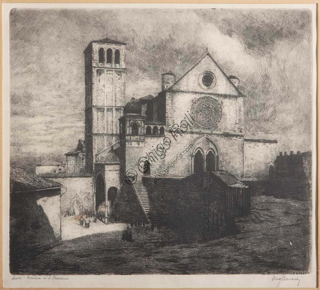 "Assicoop - Unipol Collection: Augusto Baracchi (1878 - 1942), ""Assisi,Basilica of St. Francis"", etching on paper."