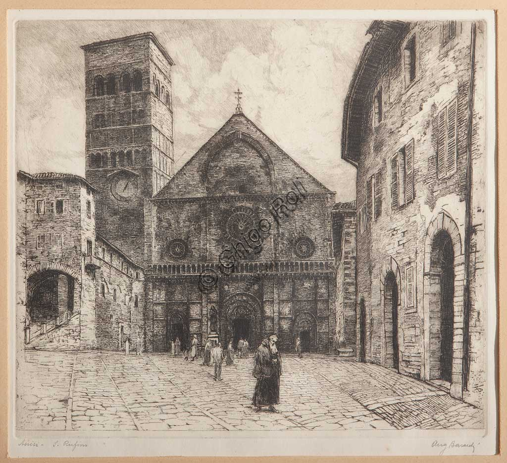"Assicoop - Unipol Collection: Augusto Baracchi (1878 - 1942), ""Assisi, S. Rufinus"", etching on paper."