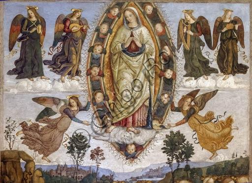"""Rome, Basilica of St. Maria del Popolo, Basso Della Rovere Chapel: """"Assumption of the Virgin Mary"""", fresco by Pinturicchio (Bernardino di Betto), 1471 - 84."""