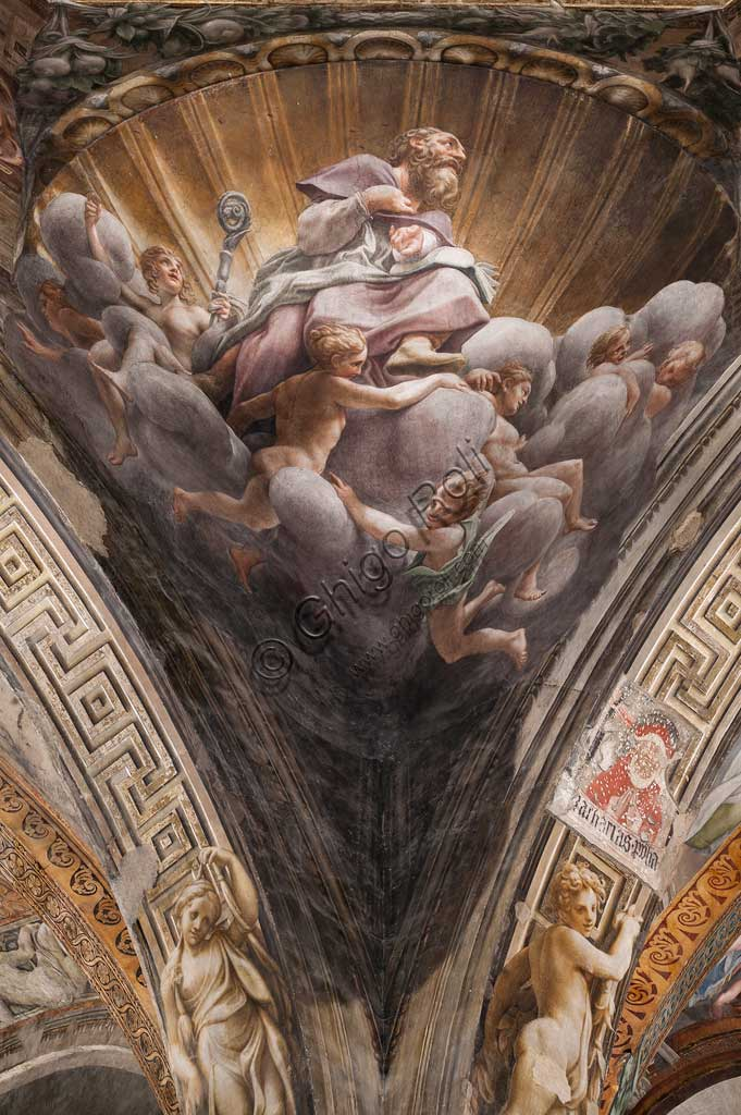 "Parma, Duomo (the Cathedral of St. Maria Assunta), the dome: ""The Assumption of the Virgin"", frescoed by Antonio Allegri, known as Correggio (1526 - 1530). Detail of a pendentive with St. Bernard."