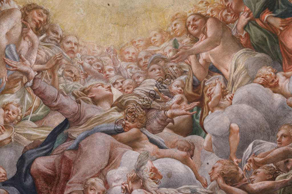 "Parma, Duomo (the Cathedral of St. Maria Assunta), the dome: ""The Assumption of the Virgin"", frescoed by Antonio Allegri, known as Correggio (1526 - 1530). Detail with the Virgin between Adam and Eve."
