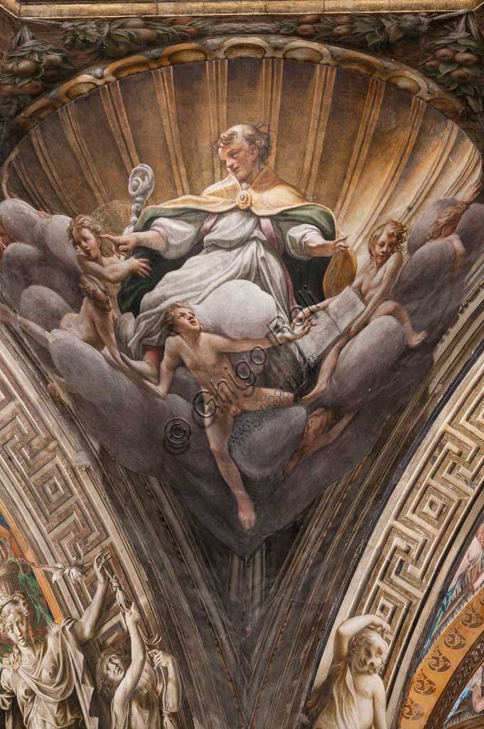"Parma, Duomo (the Cathedral of St. Maria Assunta), the dome: ""The Assumption of the Virgin"", frescoed by Antonio Allegri, known as Correggio (1526 - 1530). Detail of a pendentive with St. Hilary."