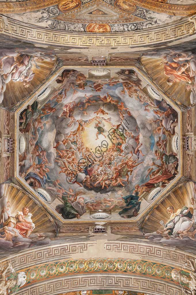 "Parma, Duomo (the Cathedral of St. Maria Assunta), the dome: ""The Assumption of the Virgin"", frescoed by Antonio Allegri, known as Correggio (1526 - 1530)."
