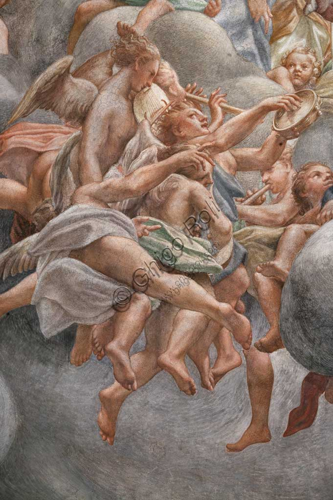 "Parma, Duomo (the Cathedral of St. Maria Assunta), the dome: ""The Assumption of the Virgin"", frescoed by Antonio Allegri, known as Correggio (1526 - 1530). Detail with angles playing musical instruments."